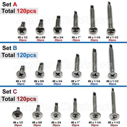 Practical 120pcs #8 Phillips Pan Flat Truss Head Self Drilling Screws 410 SS Kit