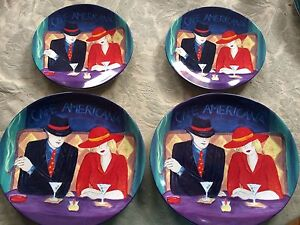 Image is loading 4-Pc-Lot-Sango-Cafe-Americana-2-Salad- & 4 Pc Lot Sango Cafe Americana 2 Salad 2 Dinner Plates Art Deco ...