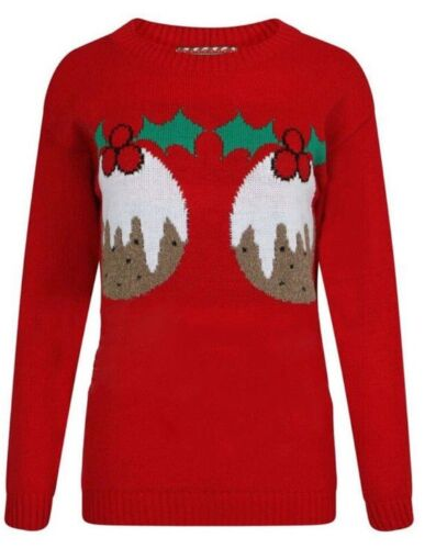 New Womens Ladies Christmas Hands off Pudding 2 Cupcakes Jumper Top Small to 2XL