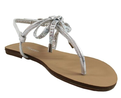 New women/'s shoes open toe sandal t strap casual party bow rhinestones silver