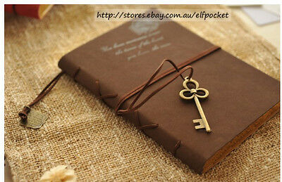 Brown Retro Vintage Imitation Leather Cover Memory Key Diary Journal Notebook AU