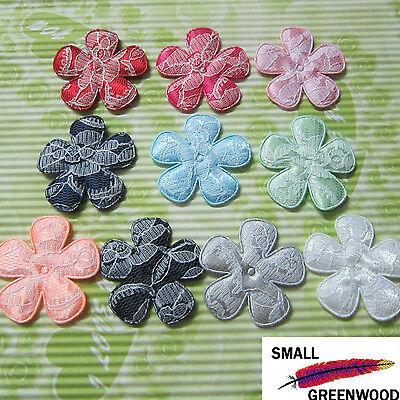 "(U Pick) Wholesale 50-500 Pcs. 2"" Padded Satin W/ Lace Flower Appliques F3300S"