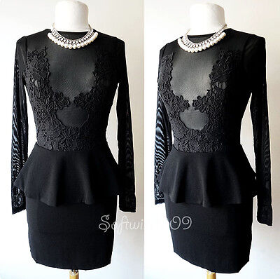 NEW Forever 21 Black Sheer Mesh Lace Inset SEXY Plunge Peplum CLUB Bodycon Dress