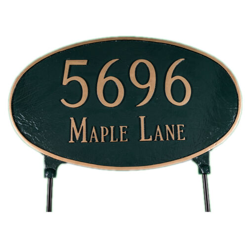 Recto Verso adresse plaque pelouse Maison Signe numéros mur custom made Commande Ovale LG