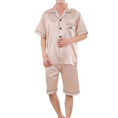 2PCS Men Casual Spring Solid Short Sleeve Satin Nightshirt Pyjama Sleepwear Set
