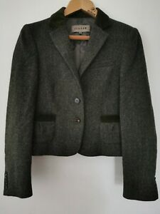 Jigsaw-Green-Herringbone-Tweed-Blazer-Jacket-with-Stag-Print-Lining-Size-UK-14