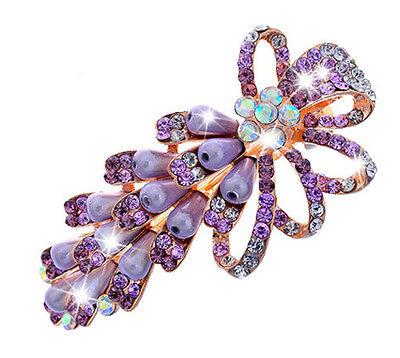 Colourful Rainbow Pearls /& Rhinestones Flower Hair Barrette Accessories HA144