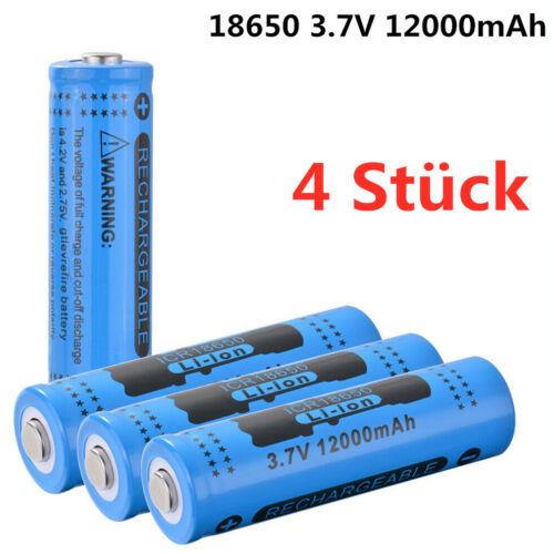 4 Stück 18650 12000mAh Akkus 3.7V li-ion Batteries Wiederaufladbare X3