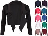 Womens Plain Long Sleeve Ladies Front Open Crop Shrug Bolero Blazer Jacket Top