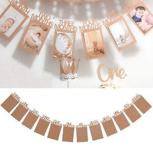 Image Is Loading 1st Monthly Birthday Gold Bunting Garland Banner Baby