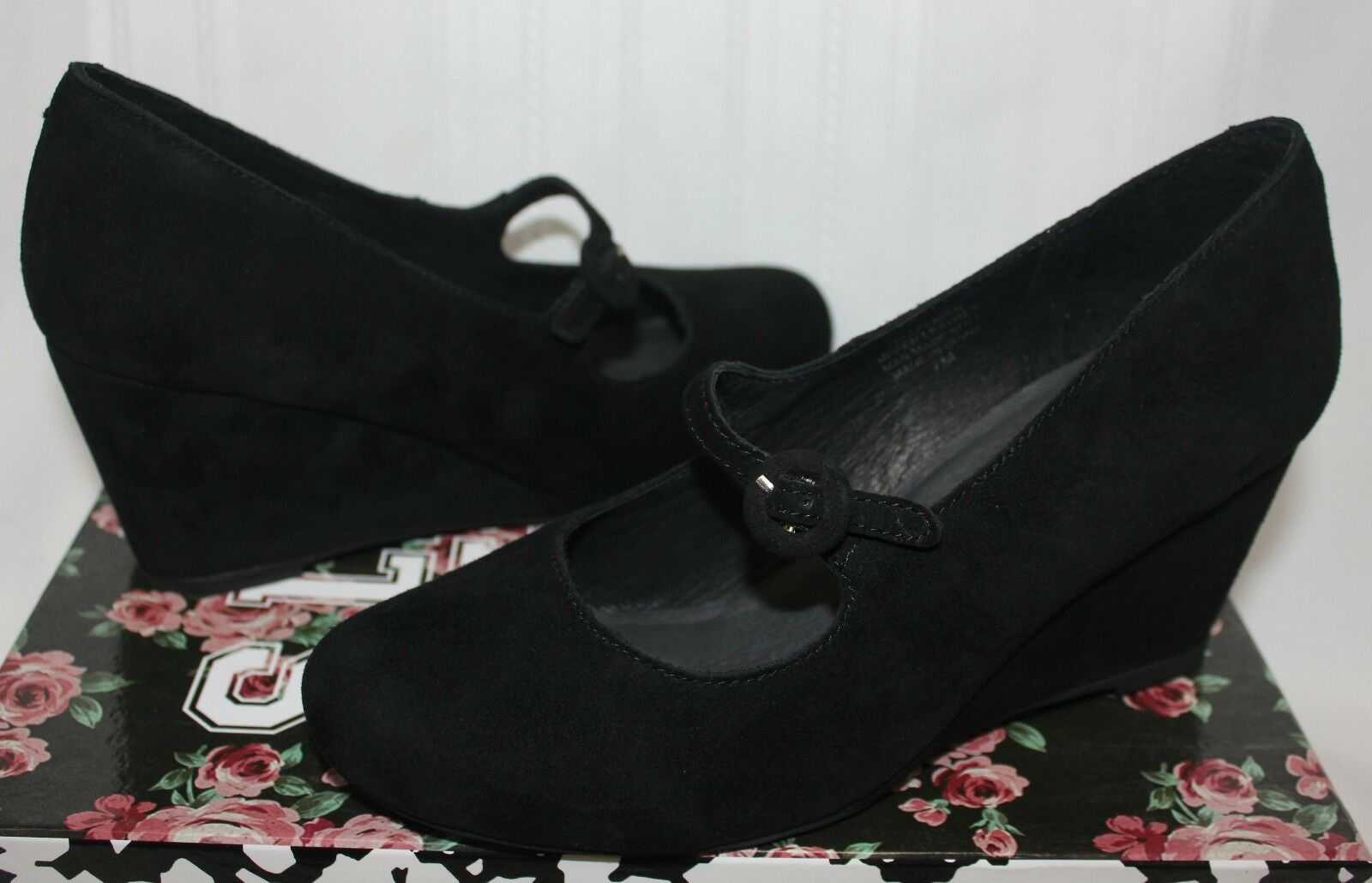 Jeffrey Campbell Hazelmae Mary Jane Wedge shoes Black Suede New With Box