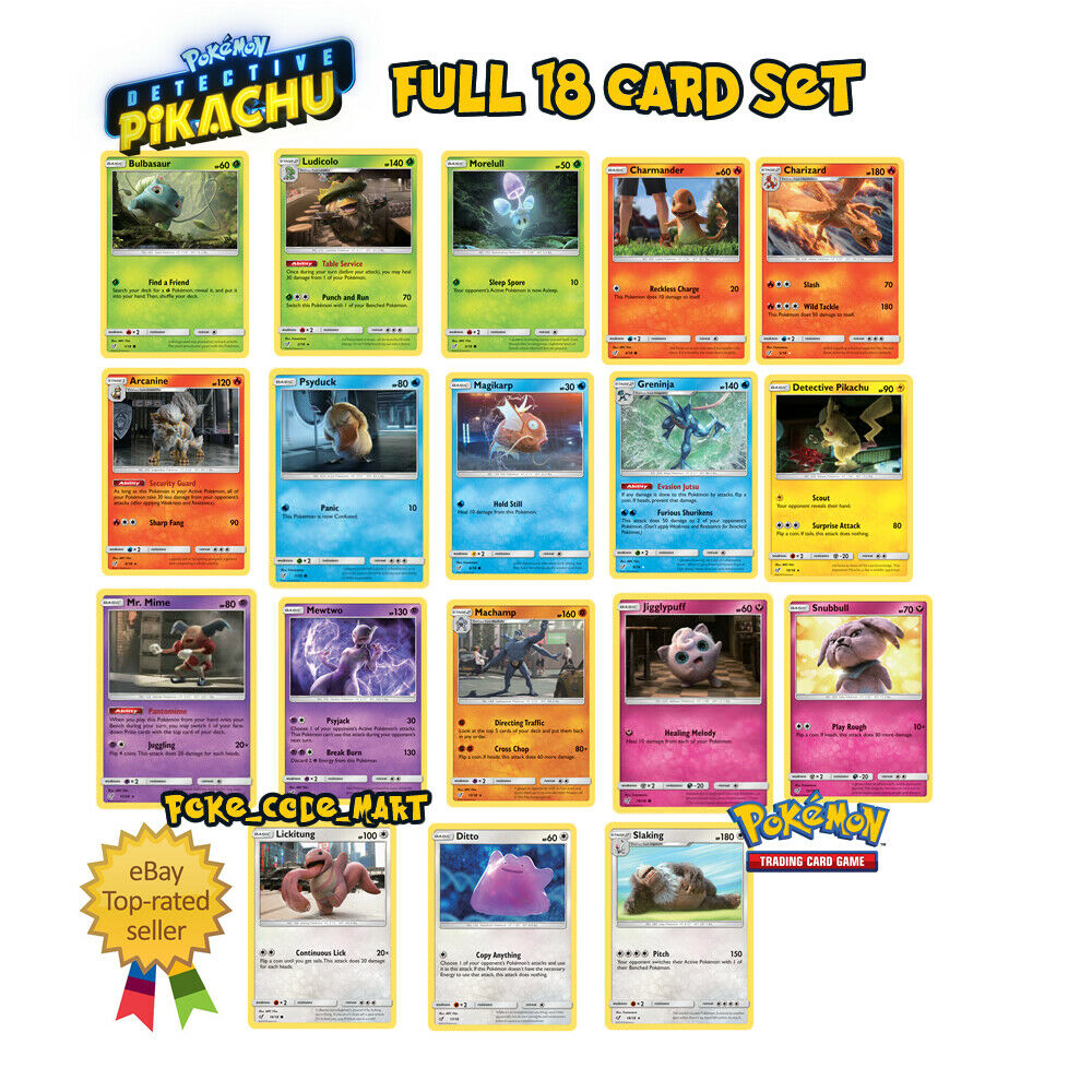 Detective Pikachu Full 18 Card Set Collection (Pokemon TCG Trading Card Game)