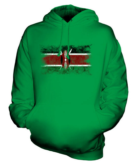 KENYA DISTRESSED FLAG UNISEX HOODIE TOP KENYAN  FOOTBALL JERSEY GIFT