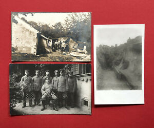 3-x-Militaer-Foto-AK-1-WK-feldgraue-Soldaten-im-Schuetzengraben-Unterstand-62097