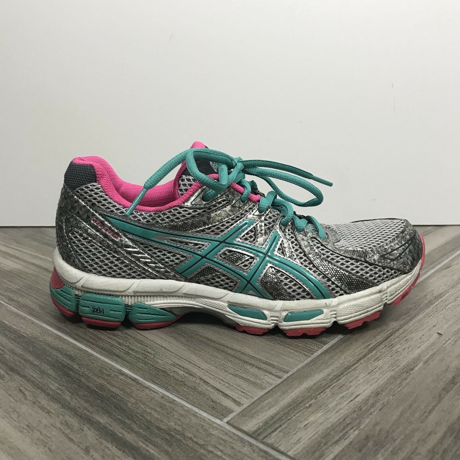 Asics Gel Exalt rose Teal Running chaussures Sz 7 Lace Up Casual EUC Metallic argent
