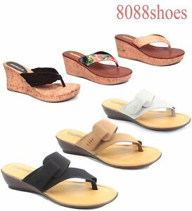 Women-039-s-Causal-Slip-On-Thong-Platform-Wedge-Sandals-Shoes-All-Size-5-5-10-NEW