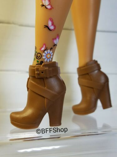 MATTEL BROWN BOOTIES BOOTS BARBIE FASHIONISTAS FASHION SHOES FOOTWEAR CURVY