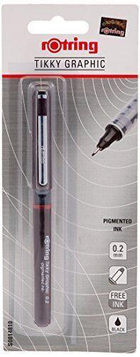 Graphic Fineliner Fiber Tip Pen Brand New 0.2mm S0814740 Rotring Tikky