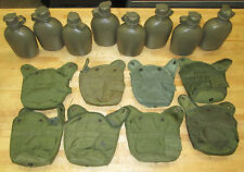 (8) US MILITARY 1 QT CANTEENS, VARIETY of GREEN COVERS ~USED~