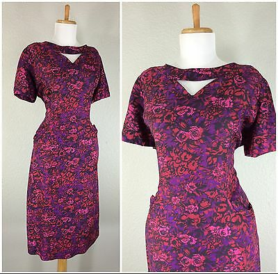 VINTAGE 1940s DRESS WWII PURPLE PINK RED FLORAL SILK COCKTAIL PARTY XL L