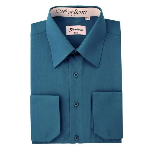 Berlioni Italy Men/'s Convertible Cuff Solid Dress Shirt Teal FREE TIE