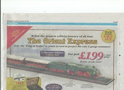 Avere Una Mente Inquisitrice The Orient Express Die-cast Miniature Newspaper Advert Disabilità Strutturali