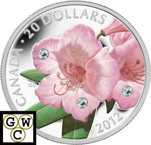 2012-Rhododendron-Colorized-amp-Crystallized-Prf-20-Silver-Coin-9999-Fine-13030