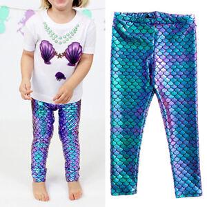 7e646f895615c Baby Girls Fish Scale Mermaid Leggings Slim Pants Trousers Kids Girl ...