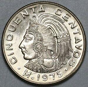 1975-Mexico-50-Centavos-Aztec-Emperor-Cuauhtemoc-Gem-BU-Coin-19021801RE