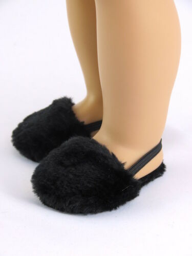 """Black Fuzzy Slippers Fits 18/"""" American Girl Doll Clothes Shoes"""