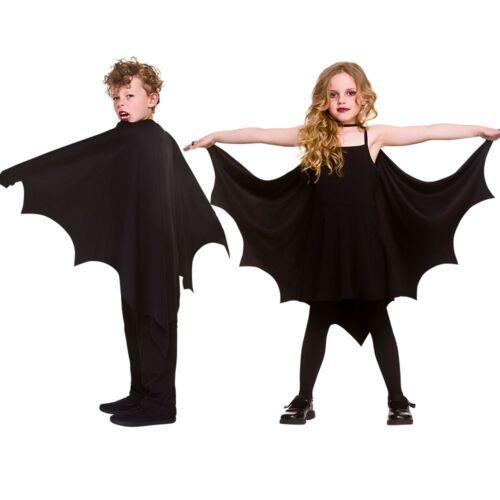 Child BAT CAPE Vampire Halloween Bat Wings Black Kids Fancy Dress Boys Girls NEW