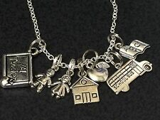 "Teacher School Days Charm Tibetan Silver with 18"" Necklace BIN"