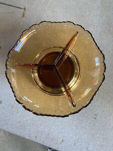 Vintage Farber Bros. KROME-Kraft en verre ambre 3 divisé côté Candy Dish Bowl