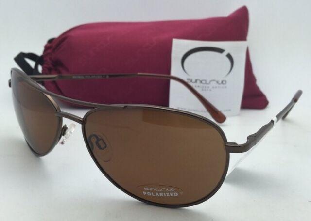 2a5722117e4 New SUNCLOUD POLARIZED OPTICS Sunglasses PATROL Brown Aviator Frame w Brown  Lens