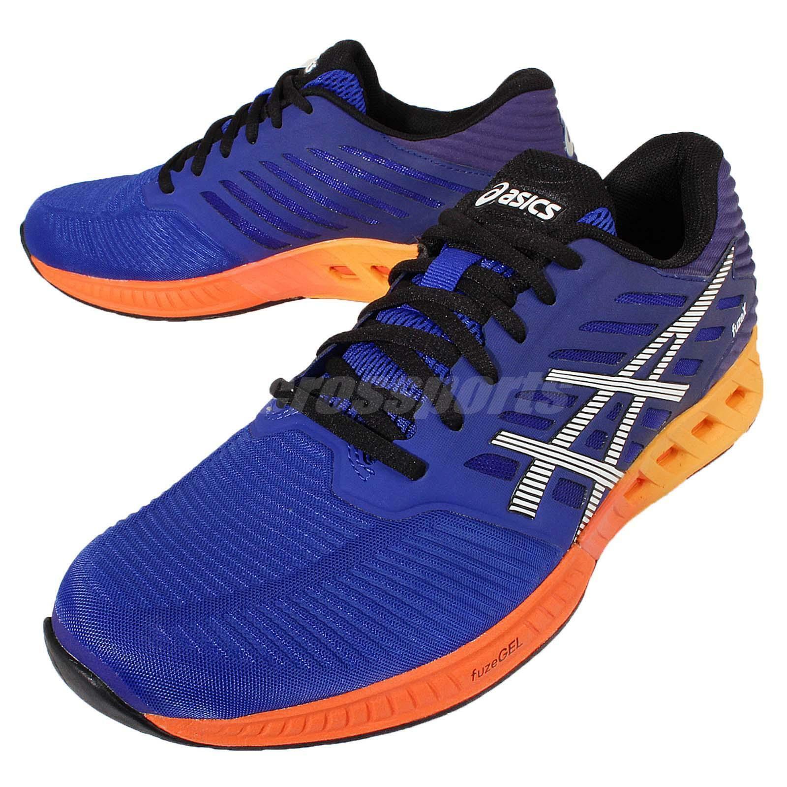 Asics FuzeX Navy arancia Mens Cushion Running scarpe Trainers scarpe da ginnastica T639N4350