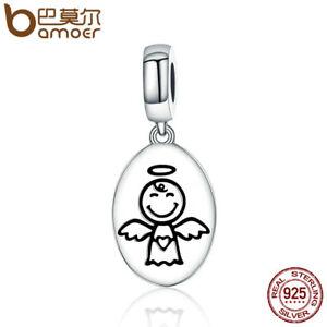 BAMOER-New-925-Sterling-silver-Charm-Guardian-angel-Dangle-Fit-bracelet-Jewelry