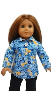 Spring-Jacket-fits-American-girl-dolls-18-034-Doll-Clothes-Blue-flower-print