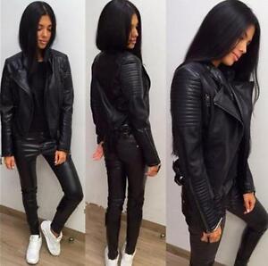 Womens Shoulder Pads Quilted Faux Leather Slim Biker Motorcycle Coat Jacket Ebay