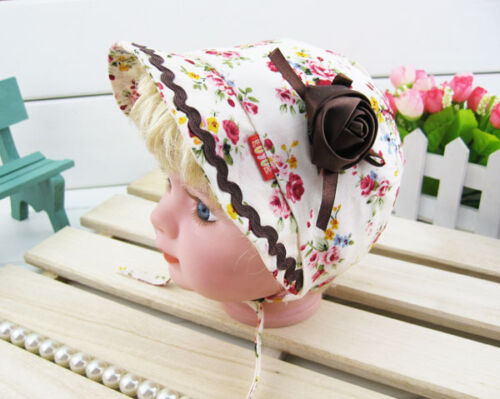 Gorgeous Baby girls adjustable sun bonnet Hats 100/% cotton,cap,gift up to 5 mnth