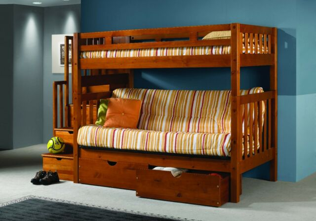 Staircase Loft Bed With Futon Honey Finish Bunkbed Free Shipping