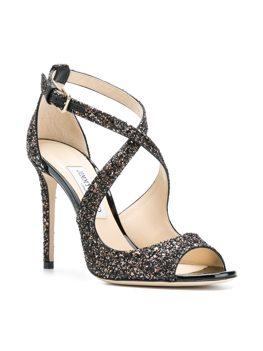 NIB Jimmy Choo Black Brown Glitter Glitter Brown 'Emily 100' Sandals Authentic MSRP $795 20928d