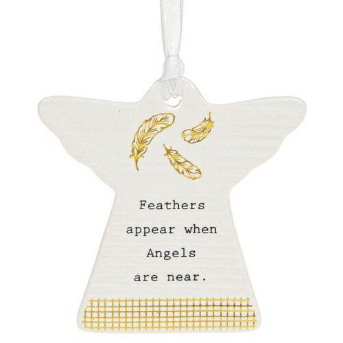 PLUMES apparaissent lorsque les anges sont près de Prévenant mots plaque