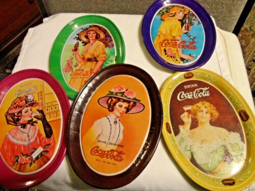 Lot of 5 Mini Vintage Oval CocaCola Advertisement Tin Trays 6 x 4 12 inches