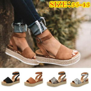 455a2ed32 Women Platform Sandals Buckle Strap Casual Open Toe Fish Mouth Wedge ...