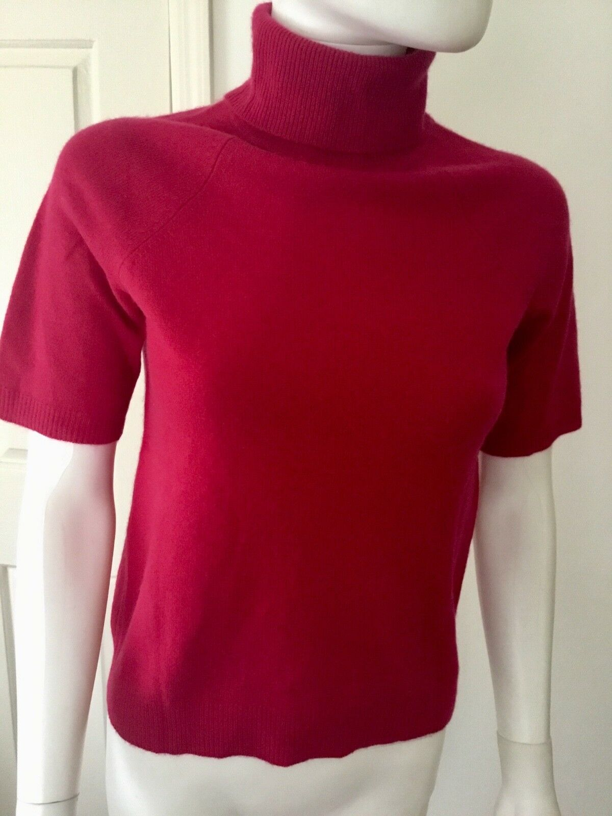 Lord & Taylor Red Short Sleeve Two Ply Cashmere Sweater Sz S