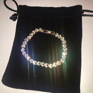 Womens-Swarovski-Element-Crystal-Bracelet-Bangle-Heart-Rose-Gold-New