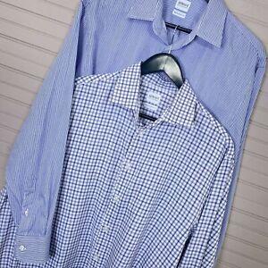 Armani-Collezioni-Modern-Fit-Dress-Shirt-Lot-of-2-L-S-Cotton-Men-s-Size-41-16-R