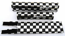 Anodized by FLITE old school BMX bicycle padset pads CHECKERBOARD BLACK CHROME