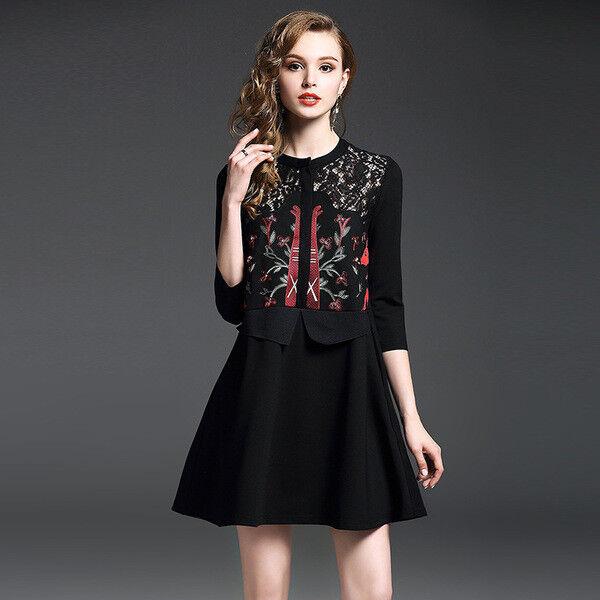 new concept ba7f9 64c91 Elegante vestito abito nero maniche corto fiori scampanato ...