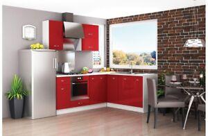 Cucina componibile angolare moderna Rosso lucido e Bianco modello ...